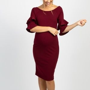 Burgundy Layered Flounce Sleeve Fitted Maternity